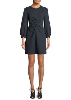 Tibi Eclipse Pique Long-Sleeve Ruched Mini Dress