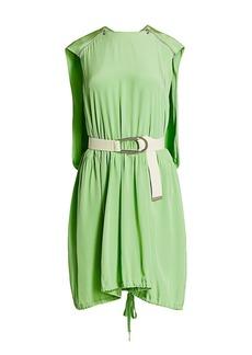 Tibi Eco Belted Cape Silk Mini Dress