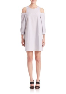 Tibi Ex Stripe Cold-Shoulder Dress