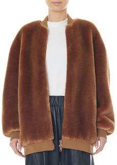 Tibi Faux Fur Zip-Up Track Jacket