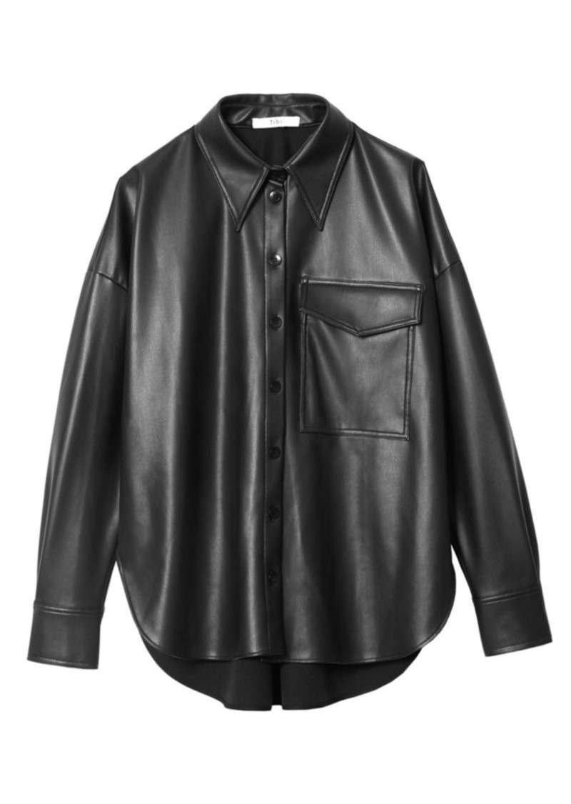 Tibi Faux Leather Utility Shirt
