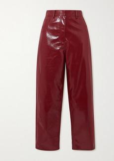 Tibi Faux Patent-leather Wide-leg Pants
