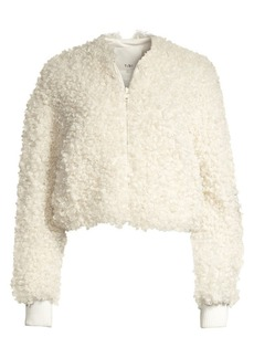 Tibi Faux Shearling Fur Cropped Bomber Jacket