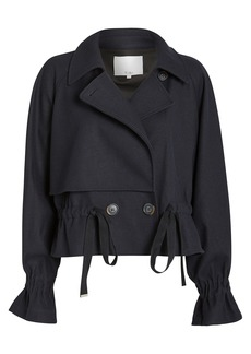 Tibi Felted Wool Cropped Trench Coat