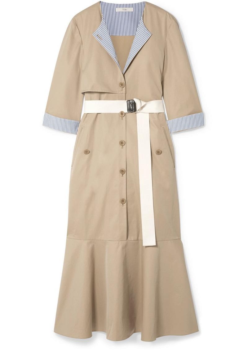 Tibi Finn Belted Striped Canvas-trimmed Cotton-twill Midi Dress