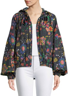 Tibi Floral-Print Anorak Jacket with Detachable Hood