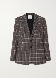 Tibi Gabe Cutout Checked Woven Blazer