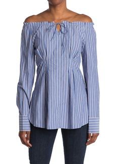 Tibi Garcon Stripe Print Shirred Top