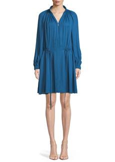 Tibi Gathered Drawstring Zip-Front Short Dress