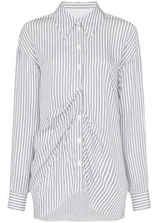 Tibi gathered-front striped shirt