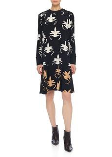 Tibi Ghost Orchid Printed Drop-Waist Dress