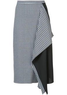 Tibi Gingham asymmetric skirt