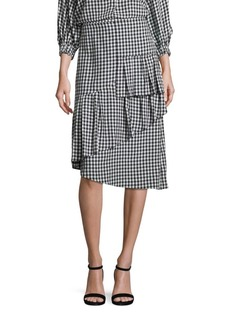 Tibi Gingham Ruffled Skirt