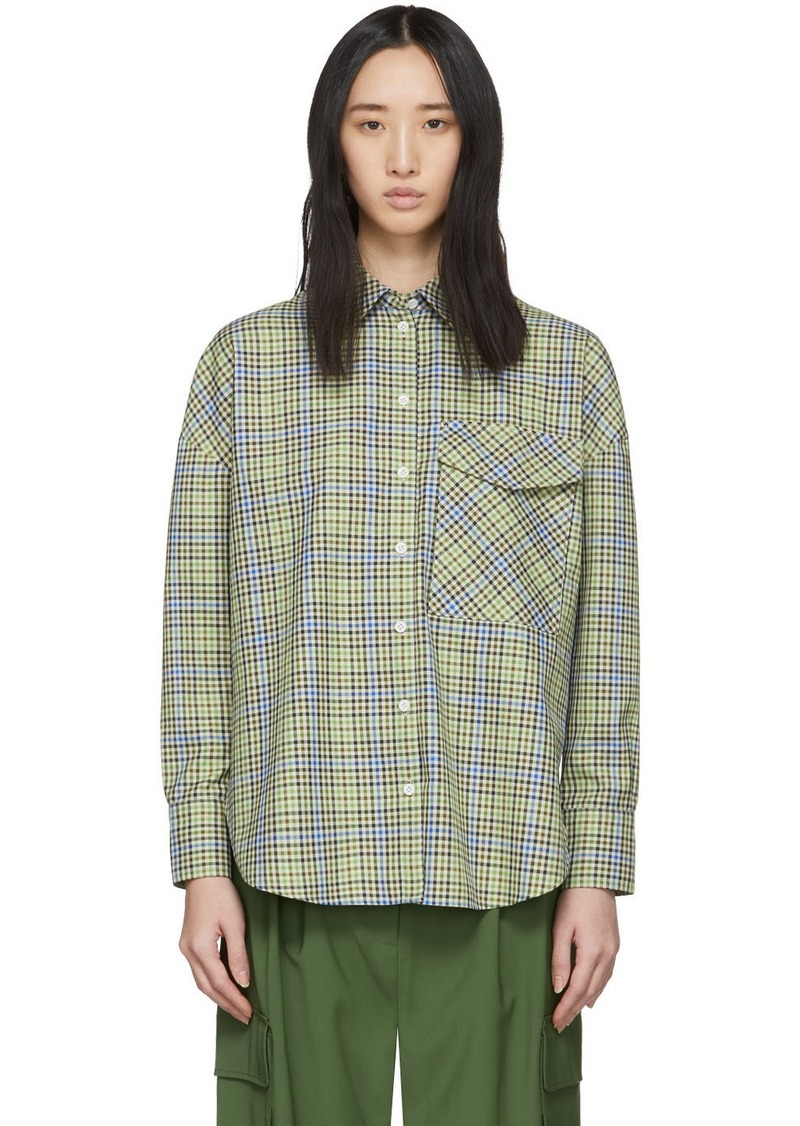Tibi Green & Beige Recycled Check Relaxed Utility Shirt