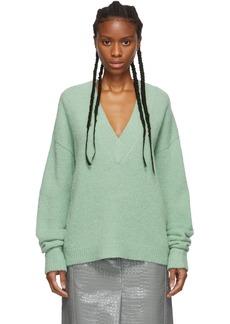 Tibi Green Alpaca Airy V-Neck Sweater