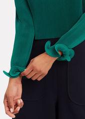 Tibi Green Pleated Crop Top