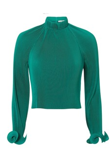 Tibi Green Pleated Crop Top