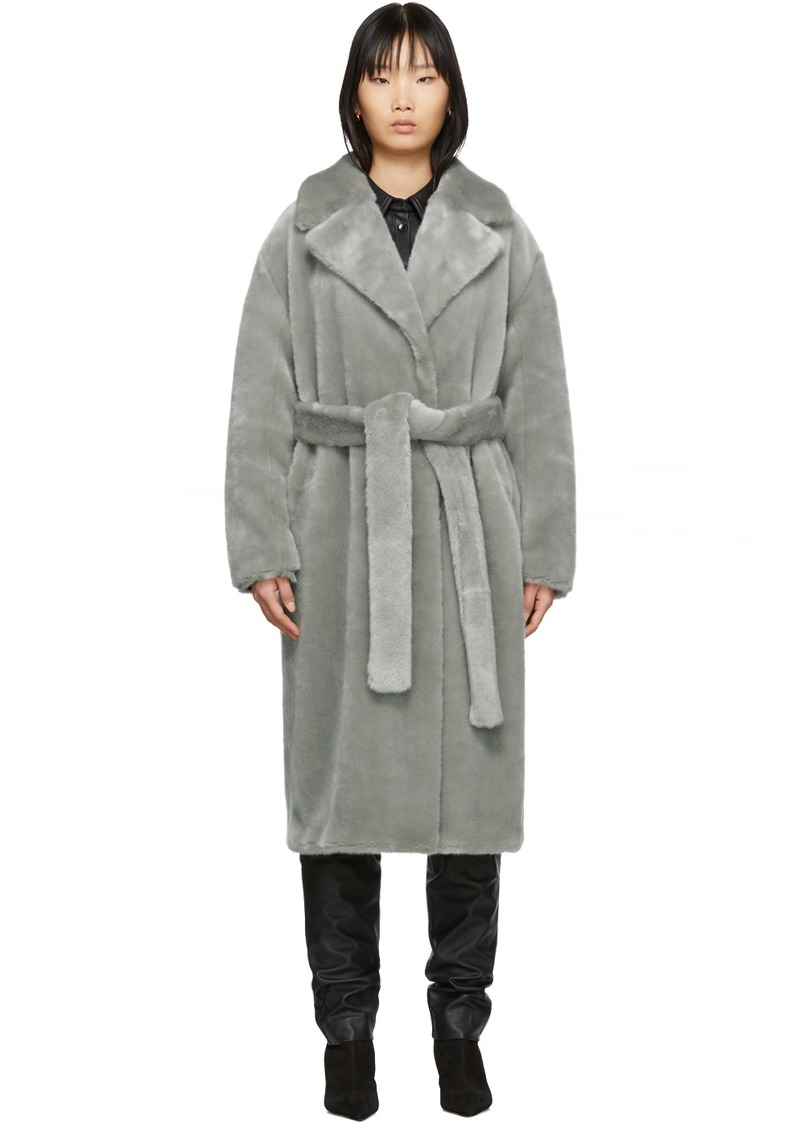 Tibi Grey Faux-Fur Oversized Luxe Coat