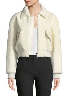 Tibi Gus Faux-Shearling Cropped Zip-Front Jacket