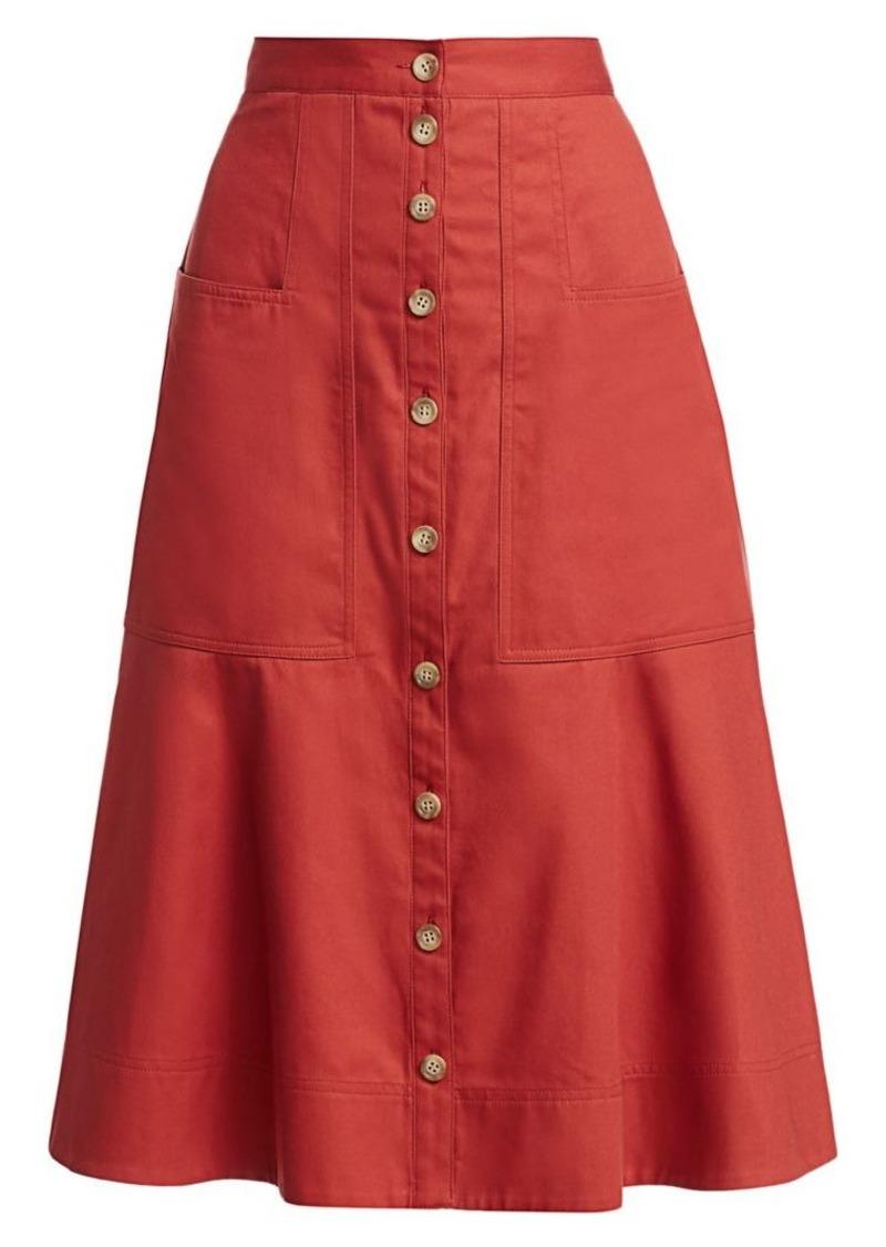 Tibi Harrison Chino Flare Skirt