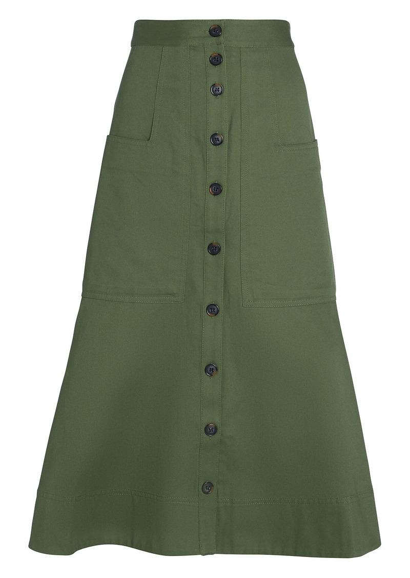 Tibi Harrison Chino Midi Skirt