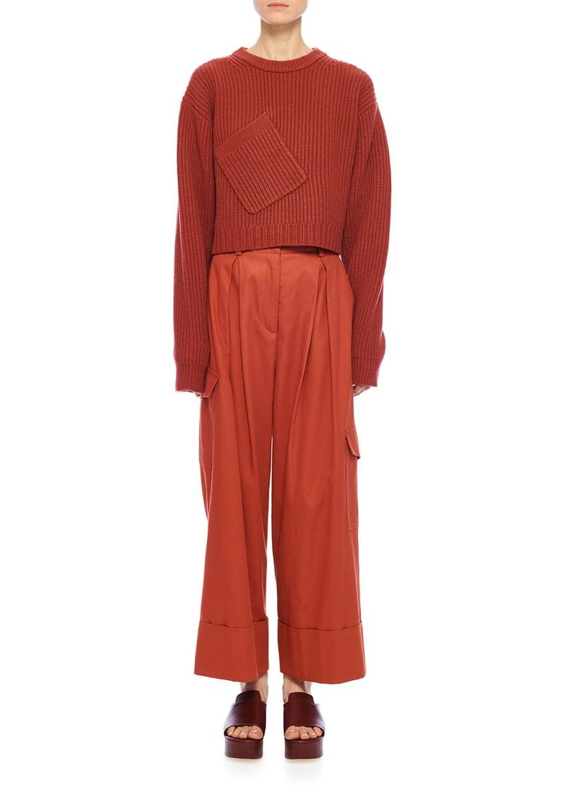 Tibi Harrison Chino Pleated Cargo Pants