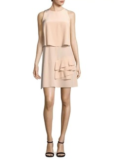 Tibi Heavy Silk Ruffled Popover Dress