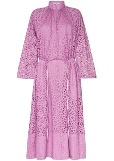 Tibi high neck lace midi dress
