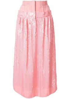 Tibi high-waist sequin silk skirt