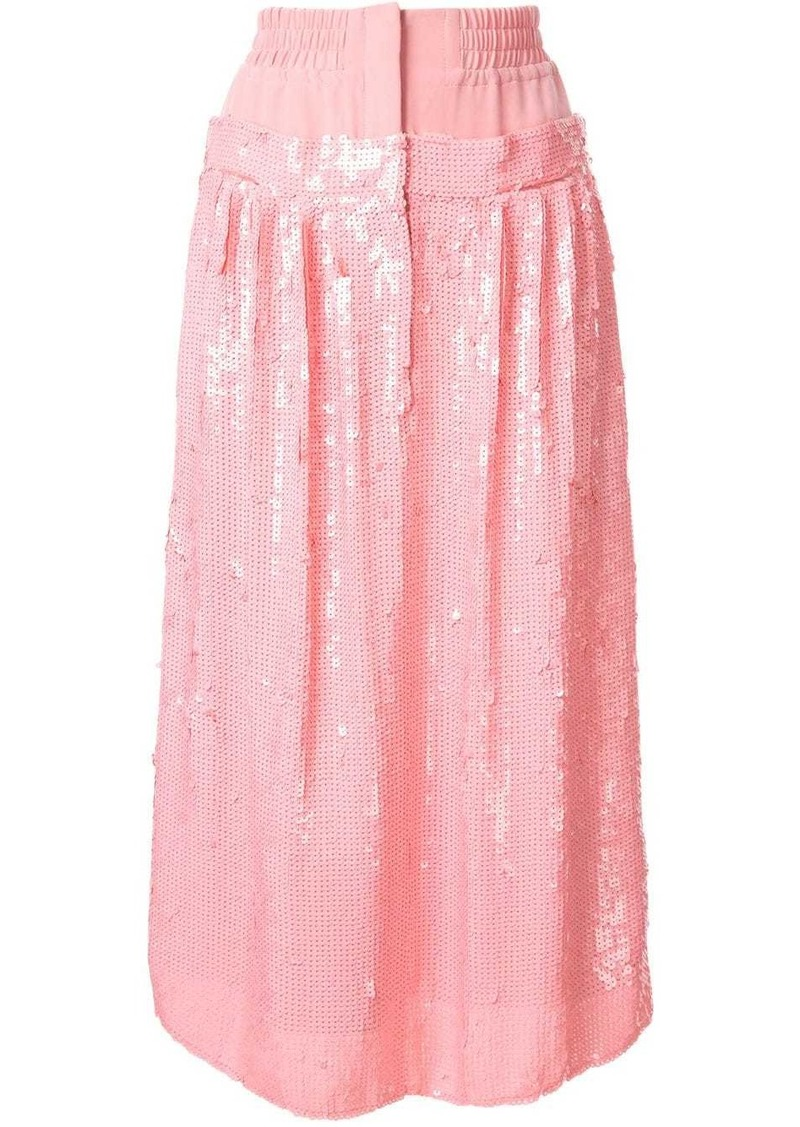Tibi high-waist sequin silk skirt