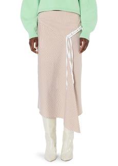 Tibi Kaia Striped Asymmetric Landyard Skirt