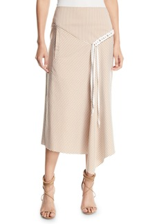 Tibi Kaia Striped Draped Midi Skirt