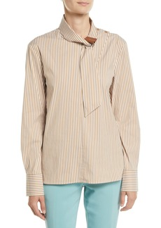 Tibi Kaia Striped Tie-Collar Long-Sleeve Shirt