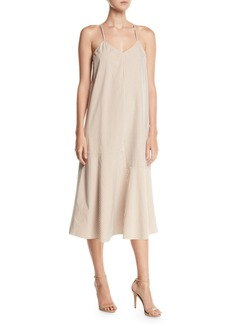 Tibi Kaia V-Neck Striped Flared Long Cami Dress