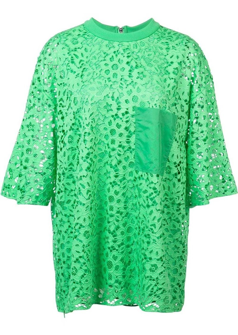 Tibi lace short-sleeved blouse