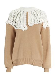 Tibi Lana Crochet Collar Wool Sweater