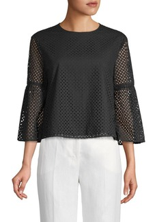 Tibi Laser-Cut Bell-Sleeve Cotton Top