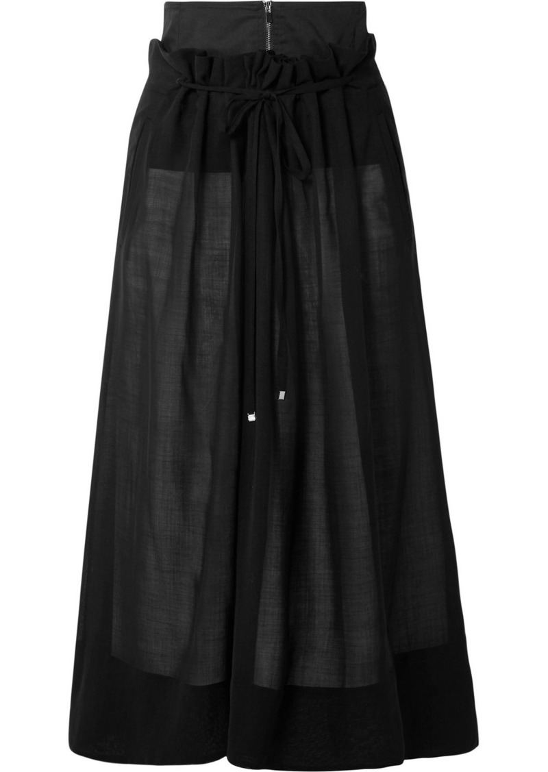 Tibi Layered Wool-blend Midi Skirt