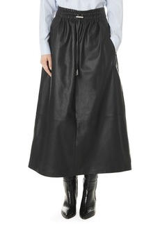 Tibi Leather Drawstring Waist Full Skirt