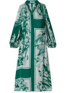 Tibi Leilani Oversized Printed Silk Midi Dress