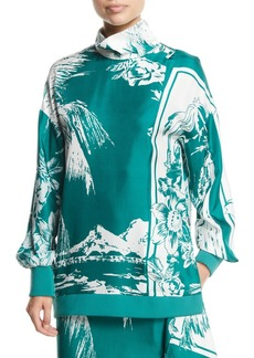 Tibi Leilani Printed Funnel-Neck Silk Sweatshirt