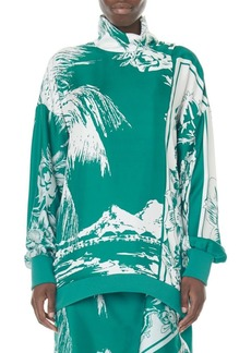 Tibi Leilani Tropical-Print Silk Sweatshirt