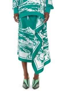 Tibi Lelani Tropical-Print Silk Ruffled Skirt