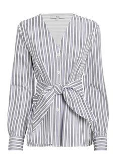 Tibi Liam Front Tie Striped Poplin Shirt