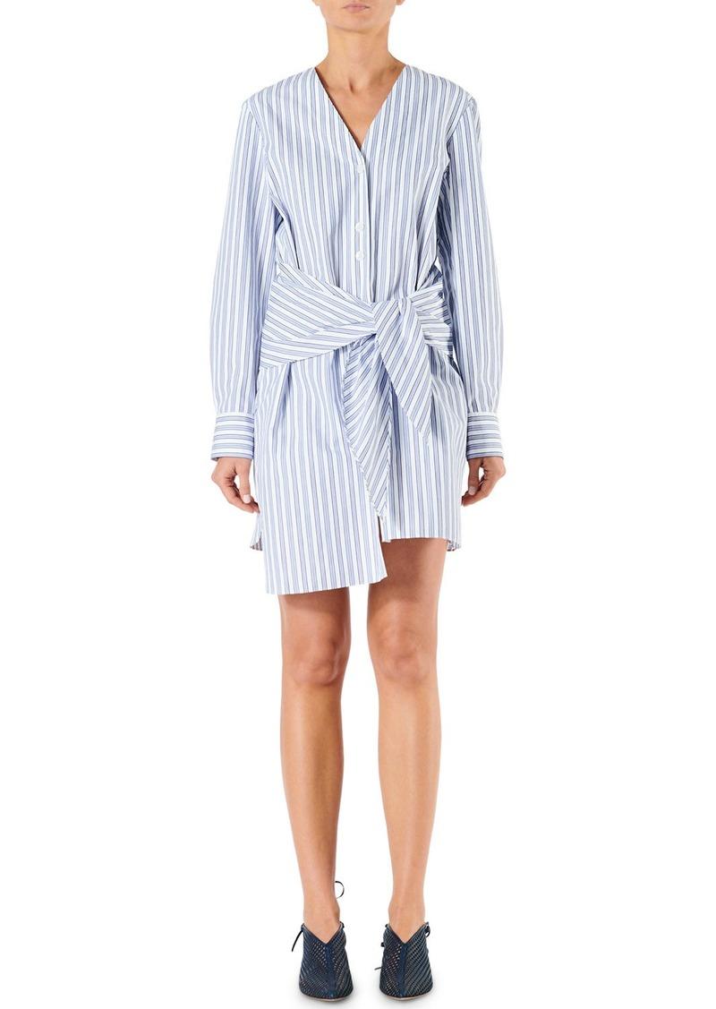 Tibi Liam Striped Shirting V-Neck Shirt Dress