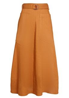 Tibi Linen-Blend Midi Utility Skirt