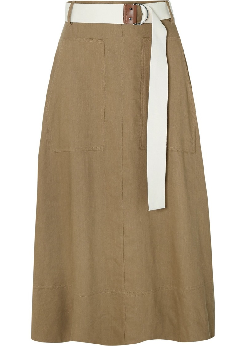 Tibi Linen-blend Twill Wrap Midi Skirt