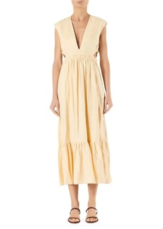 Tibi Linen V-Neck Cutout Midi Dress