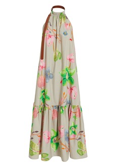 Tibi Linnea Floral Poplin Halter Dress