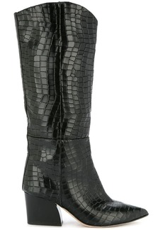 Tibi Logan crocodile-effect boots